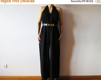 CIJ SALE Vintage 80s Black Jumpsuit Wide Leg Palazzo Pants Night Jumpsuit Open Back Romper Sexy  Women Black Overalls Made in UK Large Size