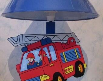 Wooden fire truck kids bedside lamp