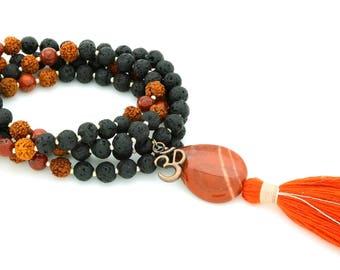 Lava, Rudraksha & Red Jasper Mala with OM charm, 108 bead mala, hand-made