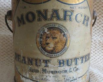 REDUCED PRICE - Rare Monarch Peanut Butter Tin - circa 1910's