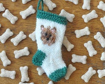 Yorkshire Terrier Hand-Knit Christmas Stocking Ornament