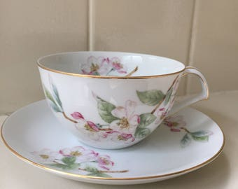 1950s Mikasa Narumi Mountain Cherry Cup and Saucer Set Pink Blossoms Fine China Beautiful!