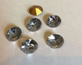 Vintage Glass Alexandrite colour Oval foiled rhinestone approx 12mm x 10mm- 4 pieces