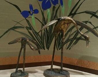 Vintage brass herons statues