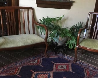 Antique Hand Carved Loveseat and chair