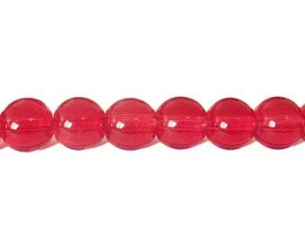 10 x 10mm Garnet glass round beads