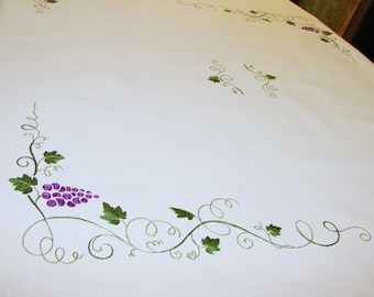 White Linen Handmade Tablecloth Runner Grapes Embroidered Handcrafted