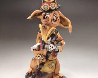 Steampunk Dragon Sculpture, Ceramic - 'Phineas'