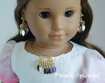 Silver and Gold Choker Necklace and Ear Dangles Set for 18inch Girl Dolls, American Made accessory, Easy to Use - NO Clasp, t-shirt bling