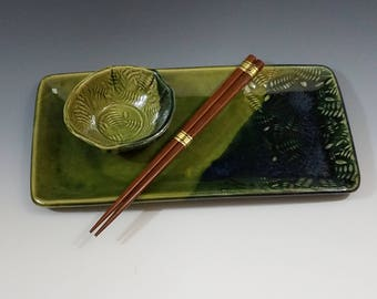 Handmade Stoneware Sushi Set for One