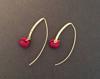 Gold Filled with Boro Red Glass Bead Dangle Earrings FREE SHIPPING