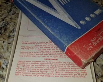 Fantastic WW2 Victory V Mail Letter Envelopes Qty 35 in Original Box Homefront Vintage Stationary Militaria
