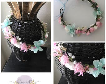 Aqua and pink halo- wdw l&l bubble- wdw m2m- wdw halo- pink halo- Aqua halo- floral halo- pink flower crown
