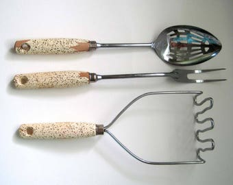 Retro Kitchen Utensils, Ekco USA Chromium Plated, White w/Gold Speckled 3-Piece Set, Slotted Spoon, Long Fork, Masher, Mid Century Cooking