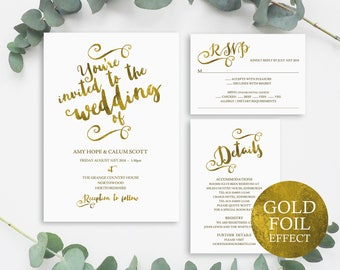 Gold Wedding Invitation Template, Wedding Invitation Template, Wedding Invite Set, Gold Wedding Invitation Set, Instant Download, MM04-1