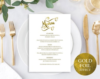 Gold Menu Template, Wedding Menu Template, Menu Card, Wedding Menu Printable, Menu, Menu Template, Printable Menu, Download, MM04-1