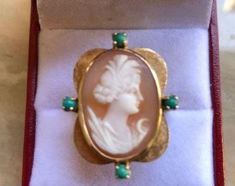 Vintage Estate 1950's 14K Solid Yellow Gold Carved Cameo Turquoise Ornate Ring