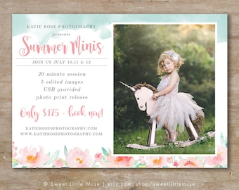 Spring Mini Session Template - mini session template - photography marketing template - watercolor flower mini sessions