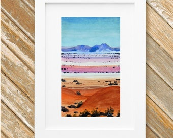 Southwest Desert Mountains Painting - Original Small Watercolor Painting - Desert Landscape - 9 x 5