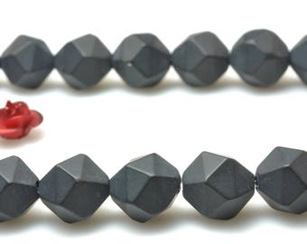 47 Pcs of Natural Black onyx faceted and matte nugget star cut beads in 8mm (06684#)