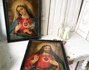 A stunning pair of Edwardian Religious prints The Sacred Heart Jesus and Mary