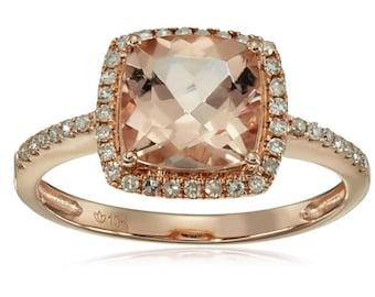 10K Rose Gold 2ctw Morganite & 0.21ctw Diamond Classic Ring SZ 7