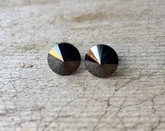 Tiny Posts Swarovski Shiny Black Rivoli Crystal Post Earrings 8mm