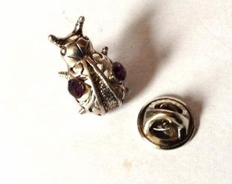 Vintage beetle pin- vintage beetle brooch- Sterling silver beetle pin - silver beetle brooch- silver insect pin- Crystal insect brooch