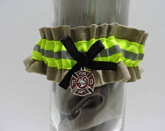 Firefighter wedding garter, With optional embroidered name added. Tan bunker gear