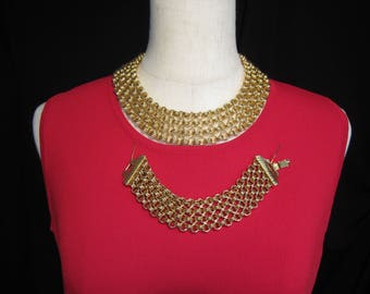 Vintage Cleopatra Style Chain Gold Link Collar Necklace and Bracelet