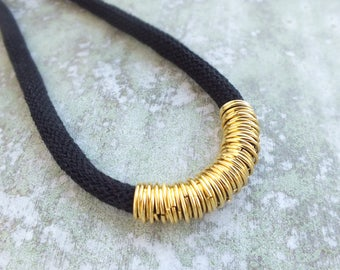 Rope Necklace, Black rope Necklace, Statement rope Necklace ,Black and Gold cotton cord necklace