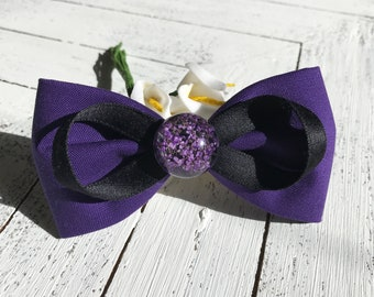 Purple hair bows for girls hair clips adult hair bows for women ultra violet bows real flower bow clips