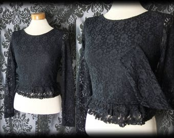 Goth Black Lace Frilled WICKED WAYS Cropped Blouse Top 8 10 Victorian Governess