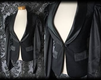 Gothic Black Fitted Satin Trim INFERNAL Corset Panel Riding Jacket 6 8 Victorian