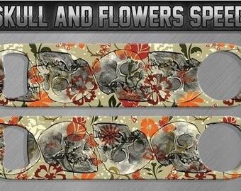 Flower & Skulls Metallic Speed Bottle Opener