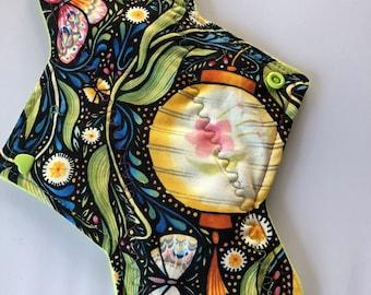 """10.25"""" Asian Lantern    on cotton   Top reusable cloth pad (regular)"""
