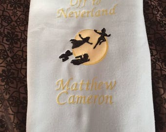 Baby Blanket Personalized Embroidered Off the Neverland Peter Pan Custom Design