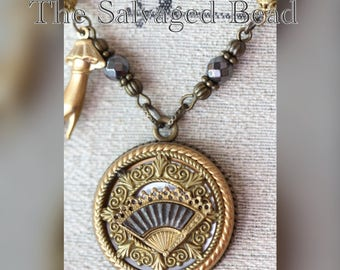 Antique Victorian Lady's Fan Pierced Brass on MOP Button Necklace circa 1900