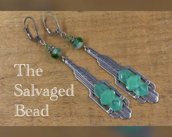 Antique Art Deco Gatsby Chrysoprase Green Drop Earrings, circa 1920's by The Salvaged Bead