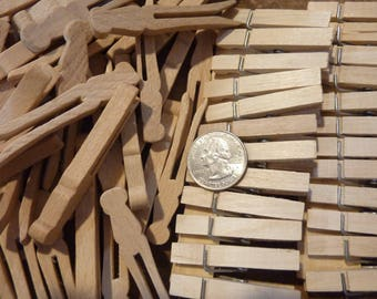 59 Miniature Wood Clothespins Clothes Pins Vintage Laundry Pin Clip Craft Supply Lot (#998)