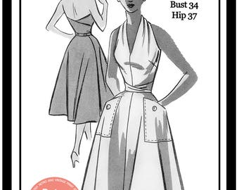 1950s Wrap Halter Dress Sewing Pattern - Rockabilly - Pin Up - Paper Pattern