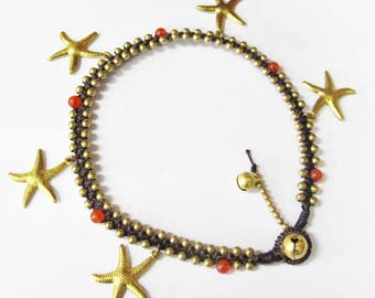Woven Ankle Bracelet - Charm Anklet, Starfish Ankle Bracelet with Carnelian Bead