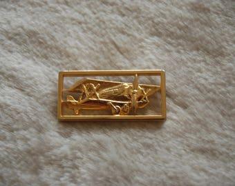 double wing airplane brooch   - vintage goldtone  airplane brooch pin