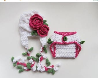 ON SALE 20% DISCOUNT Newborn Baby Girl Outfit  - Newborn Set for Baby Girl -Photography Photo Prop Girl Hat  - Diaper Cover  and Hat
