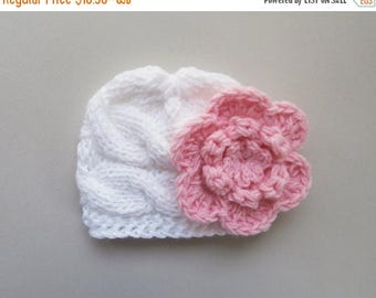 SALE 10% DISCOUNT Baby Girl  Hat ,Knit  Baby Hat Photo Prop , Knit Baby Hat , Crochet Flower Hat ,Photo Prop
