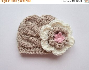 SALE 10% DISCOUNT Newborn Baby Girl Hat , Knit Baby Hat , Baby Hat Photo Prop , Knit Baby Hat , Crochet Flower Hat ,Photo Prop
