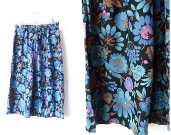 TROPICAL Midi Skirt - Electric blue floral - Highwaisted Festival Skirt - Small
