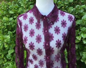 90's Daisy Sheer Blouse // Medium // Large // Floral // Purple // Lace