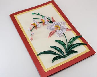 "Beautiful Birthday Card - Handmade Paper Quilling Card - Quilling Orchid Card - Quilling birthday card for mom sister girlfriend - 5""x8"""
