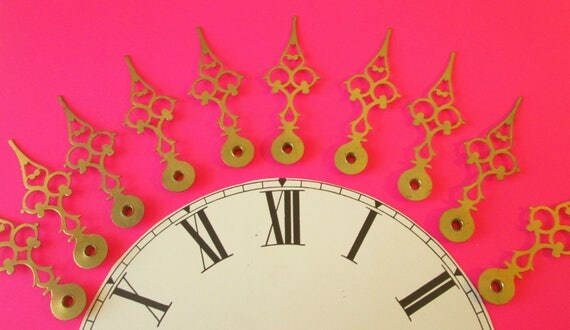 10 Large Vintage Solid Brass Serpentine Style Clock Hands for your Clock Projects - Jewelry Making - Steampunk Art & Etc..
